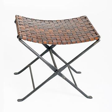 saddler folding stool, william, SAD163,  stool, ottoman, seat, leather, woven, metal, folding, iron, cast, extra, seating, foot, rest, heavy, substantial, unique, cool, beautiful, brown, black, distressed, curved