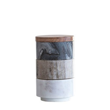 Marble Stackin Pinch Pot with Acacia Lid, Set of 3