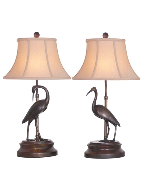Pair of Bronze Crane Lamps with Jade Base