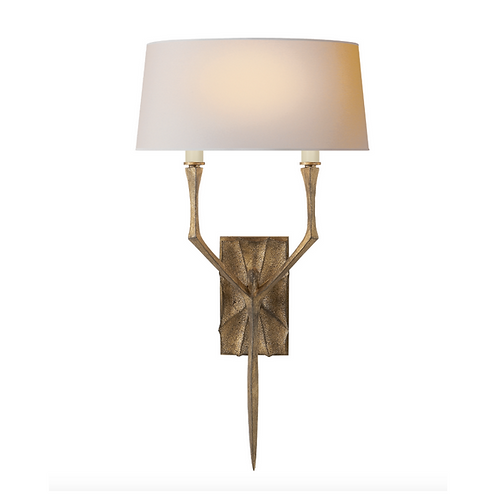 Wall Sconce with Rectangular Backplate and Natural Paper Shade