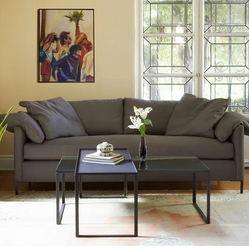 Custom Sofa with Butterfly Stitching and Down Pillows, Shown in Grey