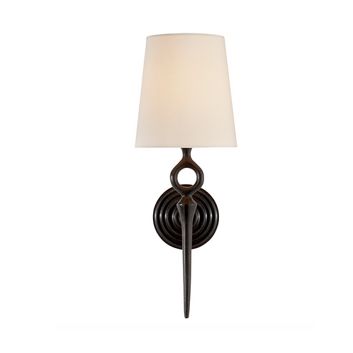 Single Wall Sconce with Round Backplate and Linen Shade