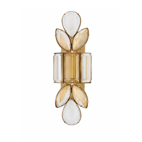 Large Jeweled Wall Sconce with Clear Crystal Accents