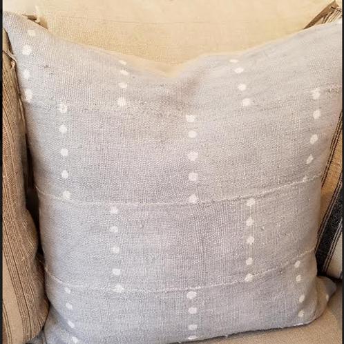 Blue Grey Polka Dot Mudcloth Pillow
