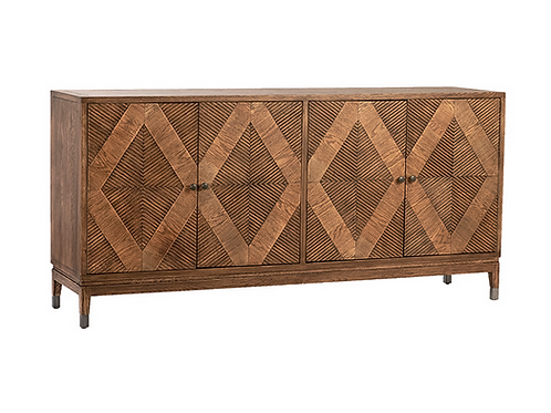 Wood Sideboard with Diamond Pattern Doors