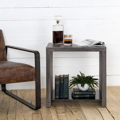 Concrete and Metal End Table