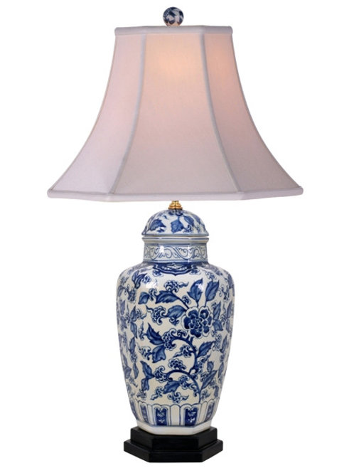 Hand Painted Blue and White Porcelain Lamp with Lined Silk Shade