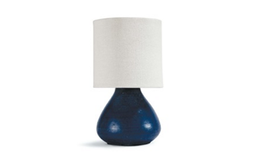 "Blue Ceramic Lamp with Linen Shade, 11"" tall"