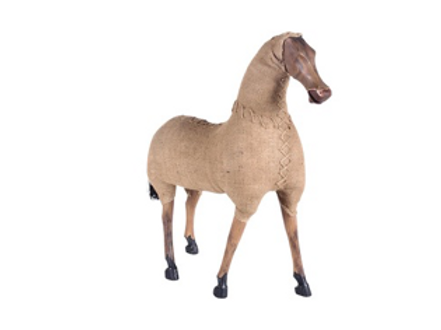 Wood Horse Wrapped in Burlap