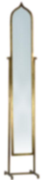 AI115, fez, mirror, free standing, narrow, skinny, arch, ogee, stand, tilt, adjustable, swinging, brass, gold, elegant, small, interior, design, decor, home, interiors, Ojai, California, furnishings