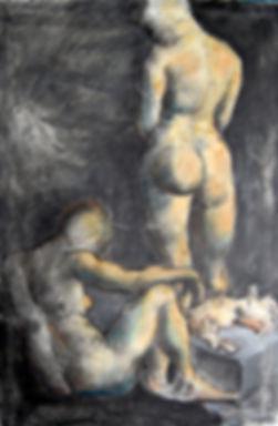 Kate, Hoffman, art, artist, artwork, original, oil, canvas, local, Ojai, California, gray, grey, vertical, charcoal, animal, people, nude, black, large, neutral, design