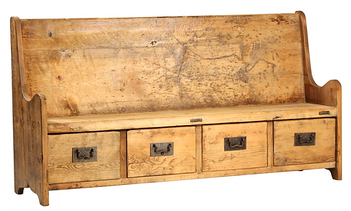 dov919, olaf, bench, drawers, narrow, entry, hall, recycled, old, reclaimed, wood, metal, back, with back, character, hand made, hand crafted, beautiful, unique, cool, church, pew