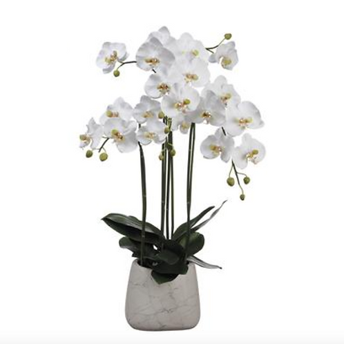 "35"" White Orchid Plant in Marble Look Pot"