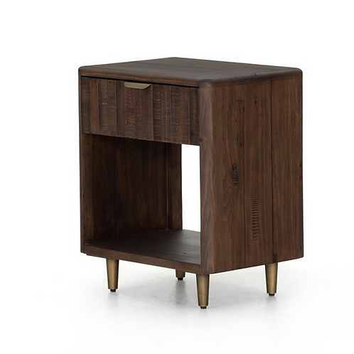 Reclaimed Wood Nightstand in Burnt Oak Finish with Burnished Brass Legs