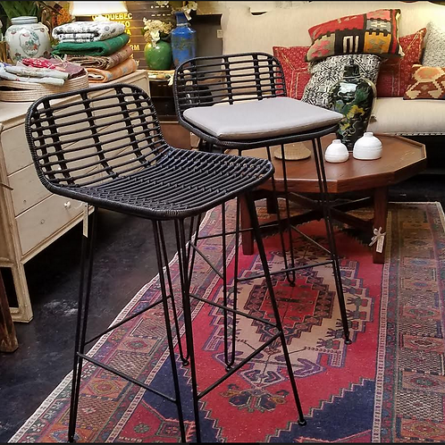 "Iron and Faux Rattan Barstool with Hairpin Legs and Gray Cushion, 18"" x 20"" x 37"