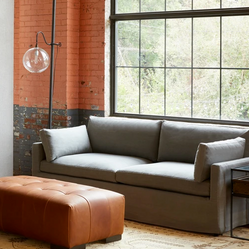 Custom Sofa with Clean Lines and a Straight Skirt, Shown in a Soft Grey