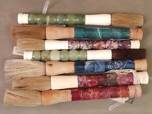 """Jade & Wood Calligraphy Brushes with Horse Hair Bristles, 16"""""""