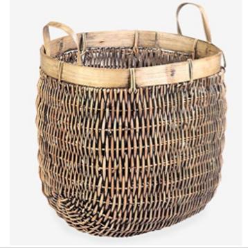 "Rattan and Bamboo Basket, 19"" x 16"" x 22"""