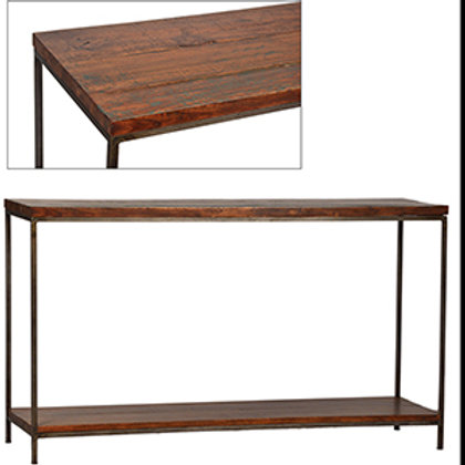 Reclaimed Wood Console Table with Metal Base