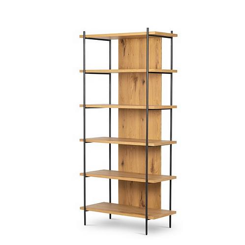 Light Oak Veneer Bookshelf with Iron Tube Supports