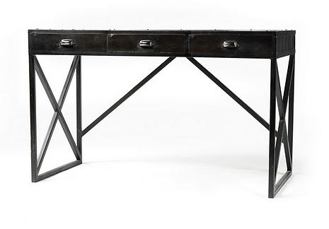 Ojai, CA, California, FHIronDesk3Drawer.png, black, iron, antiqued, drawers, storage, interior, design