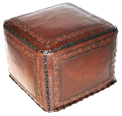new, world, classic, stitch, antique brown, leather, ottoman, hassock, foot rest, foot, rest, hand, tooled, seat, Peru, Peruvian, hand stitched, cotton, organic, stuffed, brown, antiqued, distressed