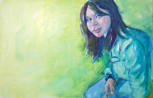 Kate, Hoffman, art, artist, local, wall, canvas, oil, Ojai, California, Southern, CA, Ventura, county, original, signed, portrait, girl, young, woman, green, blue, relaxed, soothing