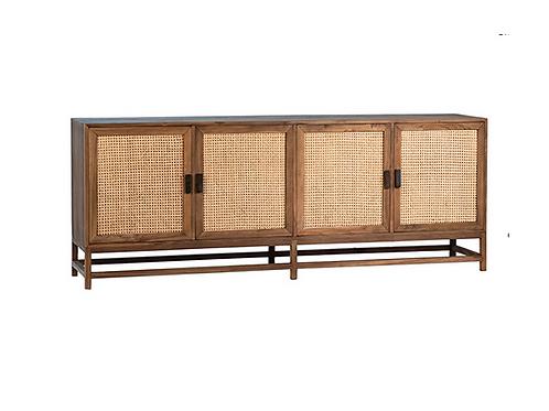 Wood and Rattan Sideboard