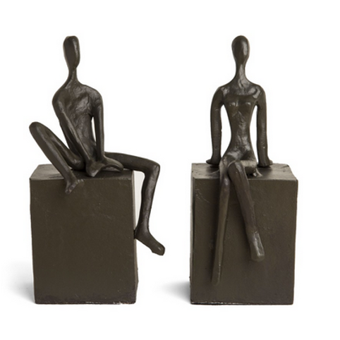 Cast Iron Bookend, Man and Woman on Blocks