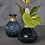 Thumbnail: Round Dark Blue Glass Vase with Gold Accent