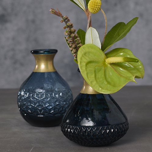 Round Dark Blue Glass Vase with Gold Accent