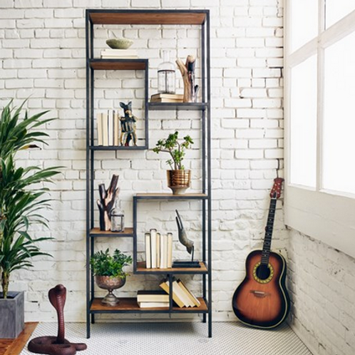 Black Iron Frame and Reclaimed Pine Bookshelf