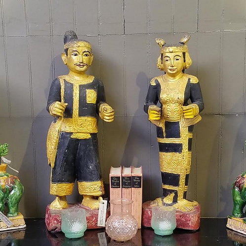 Pair of Hand Carved Burmese Nat Spirits, 26""