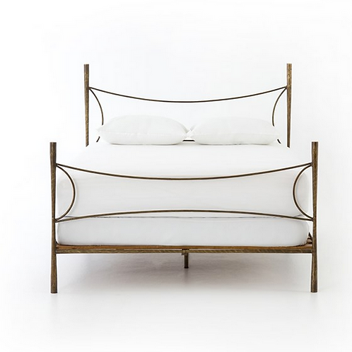Hammer Iron Bed in Antiqued Brass