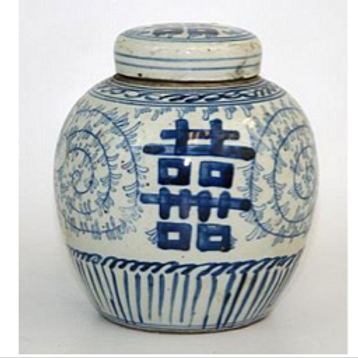 """Blue and White Ginger Jar with Double Happiness Motif, 6"""""""