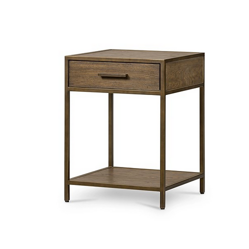 Oak Nightstand with Rubbed Bronze Accents