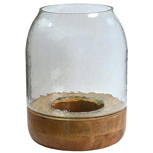 Glass Hurricane with Wood Base