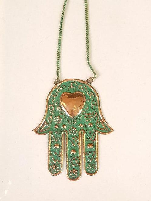 Copper and Turquoise Hamsa Hand