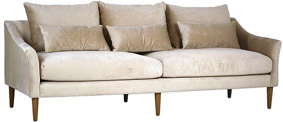 DOV3140, velvet, soft, glamourous, sofa, white, ivory, neutral, feminine, tapered, wood, legs, three over two, 3 over 2, interior, design, Ojai, Californi, home, furnishings