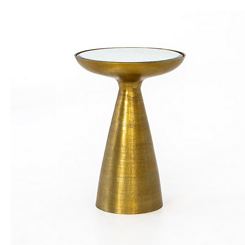 Brushed Brass Pedestal End Table with Mirror Top in Ash Glass