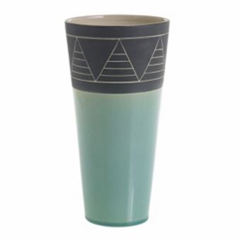 Black and Aqua Ceramic Vase