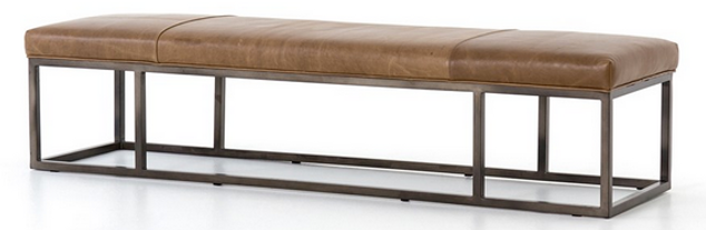 4h, beaumont, leather, brown, bench, metal, frame, ihgh end, quality, cool, interior, design, designer, six foot, beautiful, seating