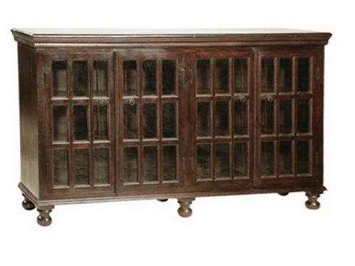 Shesham Wood and Glass Sideboard