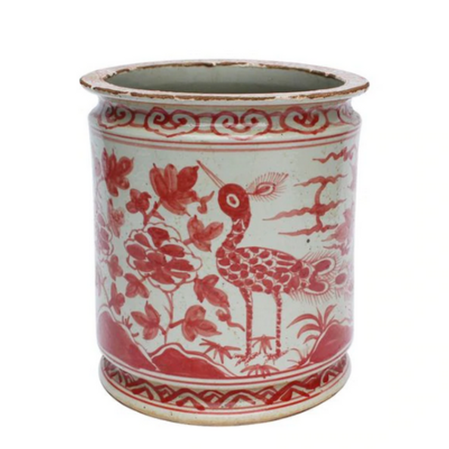 Ceramic Pot with Orchid and Bird Motif