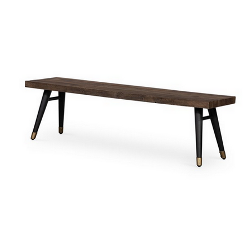 Reclaimed Wood Dining Bench with Tapered Iron Legs
