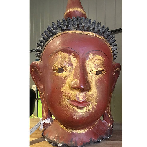 Red and Gold Buddha Head Paper Maché