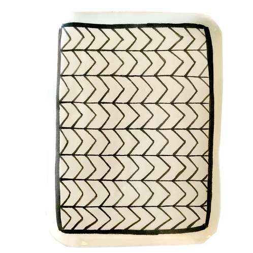 Hand Made Black and White Rectangular Ceramic Dish, Made in Morocco