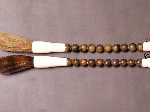 "Jade, Bone & Horse Hair Calligraphy Brushes, 13"""