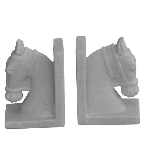 Marble Horse Head Bookends