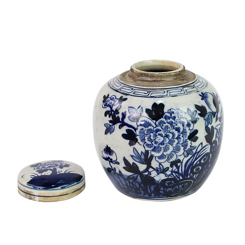 """Blue and White Mini Jar with Flower Motif, 6"""""""